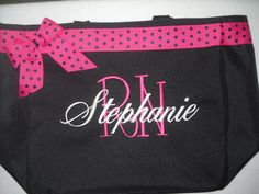 Nurse RN Tote Bag Personalized Embroidered  Great Gift Name with Large Initial  Ribbon and bow. on Etsy, $24.95