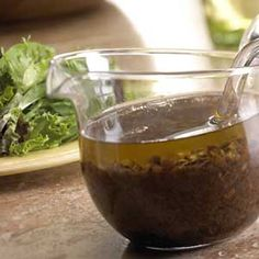 Black Olive Vinaigrette _ This flavorful vinaigrette is almost as easy as using bottled dressing, but it tastes so much better. The flavor punch comes from diced Mediterranean olives and balsamic vinegar. Vinaigrette Dressing, Salad Dressing Recipes, Vinaigrette Recipe, Paleo Chicken Recipes, Healthy Recipes, Diabetic Recipes, Diet Recipes, Healthy Food, Olive Recipes