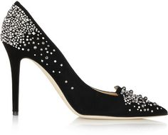 Jimmy Choo Avril embellished suede pumps
