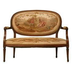 1stdibs | Petite French Louis XVI Settee w/Original Aubusson Uph.