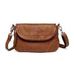 Bella Saddle Distressed Leather Crossbody   Handbag - Brown Leather Purses a0dbab3724229