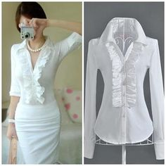 Free shipping white ruffles patchwork full sleeve ladies casual slim formal working blouses shirts 2013 design hot selling-in Blouses & Shirts from Apparel & Accessories on Aliexpress.com