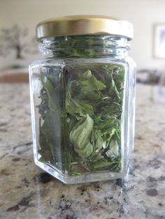 """How to Dry Herbs from the Garden- microwave for one minute until they are """"crispy dry"""". That's it!"""
