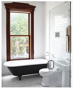 Victorian, Bath, Renovation, Subway tile, Martha Stewart, claw foot tub.  http://victoriaelizabethbarnes.com/compromise-when-youre-just-too-tired-to-care-anymore/