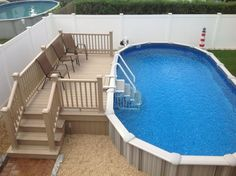 Swimming Pool Ideas Beautiful - Increasing Your Swimming Pool Area. Browse swimming pool designs to get inspiration for your own backyard oasis. Discover pool deck ideas and landscaping options to create your poolside dream. Oval Above Ground Pools, Above Ground Pool Liners, Above Ground Swimming Pools, In Ground Pools, Deck Ideas For Above Ground Pools, Semi Above Ground Pool, Oberirdische Pools, Semi Inground Pools, Cool Pools