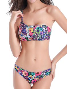 Plus Size S-6XL Padded One-shoulder Half Cup Bikini Sets at Banggood
