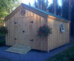 """Our 12' × 14' """"Gable"""" Shed is a sturdy post and beam storage shed that can be ordered as a shed kit (estimated assembly time 40 hours), DIY garden storage shed plans, or a fully assembled building. http://jamaicacottageshop.com/shop/gable-series-large/ http://jamaicacottageshop.com/wp-content/uploads/pdfs/pdf12x14gable.pdf"""