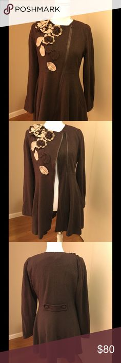 """Great Brown Coat by Ryu boutique Very worming coat with zipper front, side pockets, 19"""" from armpit to armpit, 24"""" length Ryu Jackets & Coats"""