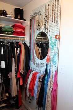 Pegboard in the closet...this is pretty smart
