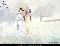 Girls Strolling in an Orchard - Winslow Homer - www.winslow-homer.com