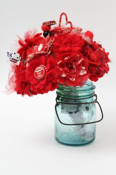 Red Rockabilly Fabric Flower and Button Bouquet by thriftysister