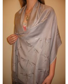 """Product No: 4941 This Dazzling Silver Grey #Shawl is a beautiful #HandPainted #Pashmina Shawl by a talented Artist in Boston, MA. This Pashmina is heavenly soft, delightful in feel, en vogue and protective. It is the perfect size for a Women's Evening #Wrap or Long #Scarf at #YoursElegantly.  Size: 28"""" X 76"""" w/ fringe Price: $59.99"""