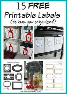 Organize your home with these free printable labels for organizing your bins, baskets, jars and boxes. Your home will be beautifully organized.