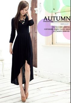 Black 3/4 Sleeves Asymmetrical Skirt Round Neck Korean Midi Drees - $61.80