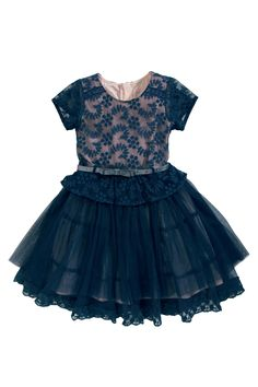 Navy Peplum Lace Dress (3-16yrs) from the Next UK online shop