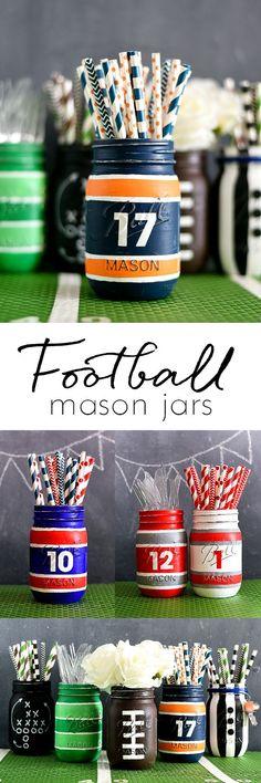 Football Jersey Mason Jar - Football Party Mason Jar  - Super Bowl Mason Jar Craft Idea