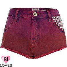 ruby red studded super short denim hotpants - denim shorts - jeans - women - River Island
