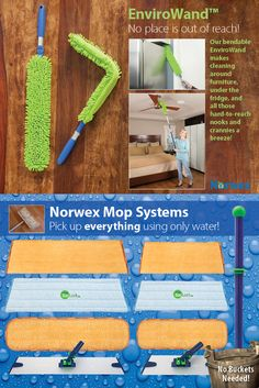 Norwex Mop Systems! P R O B L E M : You strive to keep your floors clean and try to avoid tracking in pollution, pesticides, dirt and debris from outside. But even under the best circumstances, the floors of your home can harbor pollutants, chemicals, dust and bacteria. S O L U T I O N : Rather than coat your floors with even more chemicals, harness the power of static electricity and water to get them completely clean and chemical-free—and keep them cleaner, longer!