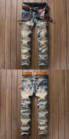 Vintage Stylish Wash Designer Men Jeans Retro Casual Leisure Pants Slim Fit Fashion Streetwear Jeans Men Snow Wash Biker Jeans