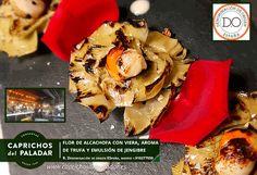 Impresionante esta Flor de Alcachofa con Viera, aroma de trufa y emulsión de jengibre que nos comparte el Restaurante Denominación de Origen España, en Boadilla del Monte, Madrid, Tel 910277559