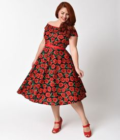 Hell Bunny Plus Size Pin Up Black & Red Cordelia Poppy Dress - Plus Size - Dresses - Clothing | Unique Vintage