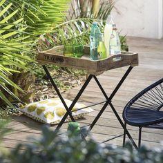 La Redoute Interieurs - Table de jardin pliante, plateau amovible   La Redoute