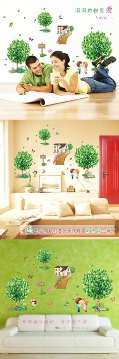 New home decoration removable wall stickers Wholesale Creative green tree love Simple Love sticker XL7096 $11.93