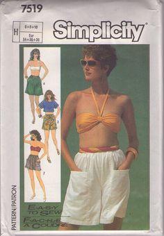 MOMSPatterns Vintage Sewing Patterns - Simplicity 7519 Vintage 80's Sewing Pattern COOL Casual Easy to Sew Summer Flared Leg Shorts Set, Pockets Size 6-10