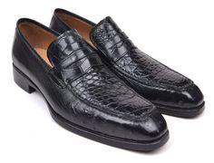 Paul Parkman Genuine Crocodile & Ostrich Penny Loafers Black Shoes (ID Mens Slip On Shoes, Men S Shoes, Golf Shoes, Loafers Outfit, Loafers Men, Pump Shoes, Shoe Boots, Pumps, Penny Loafers