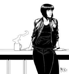 mckelvie:  Cayce Pollard, the protagonist of Pattern Recognition (by William Gibson), after she's had her hair cut in Japan. Hairstyle is, of course, modelled on Major Kusanagi. Click to make it bigger.