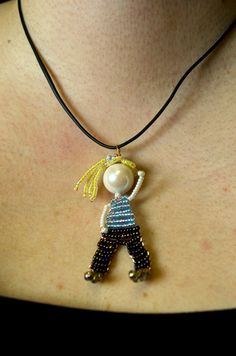 Beautiful #beadwork. Seed Bead Doll Beaded Bead Necklace Pendant by innercreatures, $25.00 #dolls #jewelry