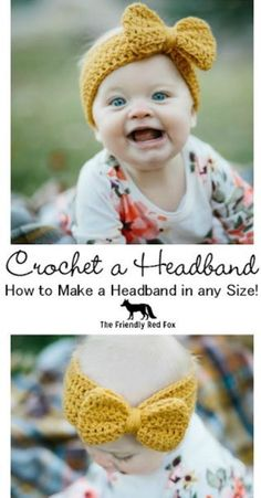 Have you ever wanted to crochet a headband in any size? This would look darling on a little baby, but still so cute on an adult! Have you ever wanted to crochet a headband in any size? I have some tips and tricks so that you can! Bonnet Crochet, Crochet Diy, Crochet Gifts, Crochet For Kids, Crochet Hats For Babies, How To Crochet, Crochet Ideas, Things To Crochet, Crochet Baby Hats Free Pattern