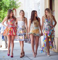 Kristen Alyce (not pictured) creates dresses out of recycled rubbish. Pictured: Four prom style dresses made from (left to right) Tropicana wrappers, advert posters, newspapers and sweet wrappers