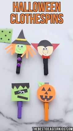 - a fun and easy Halloween craft! Make these adorable clothespin characters. Make these fun and easy Halloween clothespins! Choose from a pumpkin, Frankenstein, witch or vampire. Free template available. Dulceros Halloween, Halloween Arts And Crafts, Halloween Crafts For Toddlers, Easy Halloween Decorations, Halloween Crafts For Kids, Christmas Crafts For Kids, Holiday Crafts, Halloween Templates, Halloween Printable