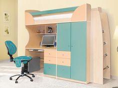 Основные правила обустройства комнаты для первоклассника: кровать-чердак со шкафом и рабочим столом