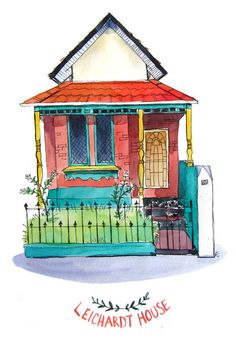 "Custom Watercolor House Portrait 10"" x 8"". $85.00, via Etsy."