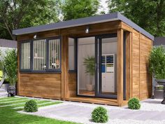 Our Helena garden office has a spec far better than any competitor. This office has a secure locking system and wide opening, Patio doors. Garden Office Shed, Backyard Office, Outdoor Office, Small Garden Office, Outdoor Decor, Shiplap Cladding, Shed Cladding, Tiny House, Small City Garden