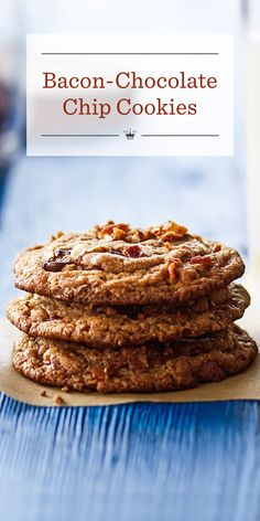Bacon-Chocolate Chip Cookies Recipe | Crispy bacon, toasted pecans and two types of chocolate chips add bold flavor to our not-so-ordinary but oh-so-delicious bacon-chocolate chip cookies.