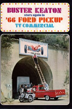 Buster in Ford commercial Vintage Pickup Trucks, Ford Pickup Trucks, Old Trucks, Advertising History, Car Advertising, Vintage Advertisements, Vintage Ads, 1966 Ford F100, Old School Cars