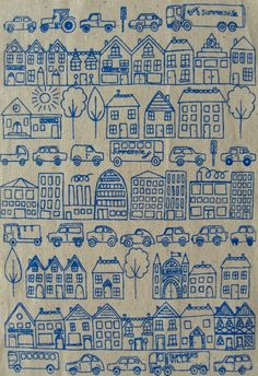 town - screenprinted fabric in seafoam turquoise on oatmeal. £5.00, via Etsy.