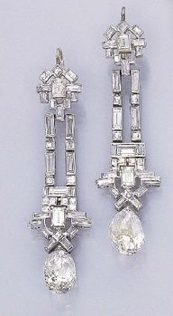 Art Deco Diamond Ear Pendants - c. 1925 - Christie's - @~ Watsonette #Vintage  #Diamonds    More here: http://mylusciouslife.com/photo-galleries/bling-fling/