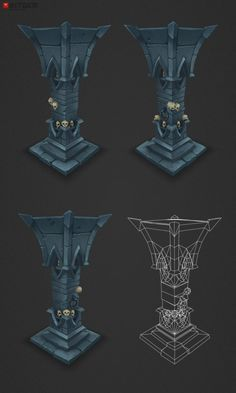 Low Poly Skull Pillar Sorry for the long pause! It's been a busy time where most of what I have done was revisiting old models and adapting them so they are usable for mobile gaming… still working on that. In the mean time this was completed though so one more new item for the dungeon set! YAY! You can also find the individual file on 3DO and the asset store as usual.