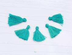 Mini Tassels, 5 Pieces Tiny Teal  Tassels - Cotton Tassels - PS022 by…