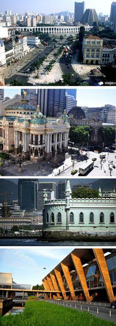 RIO DE JANEIRO - Vista do centro da cidade com Arcos da Lapa - Bairro da Lapa - Palácio da Ilha Fiscal - MAM Museu de Arte Moderna