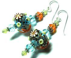 Lampwork Earrings Handmade Lampwork Beads SRA by SeeMyJewelry, $30.00