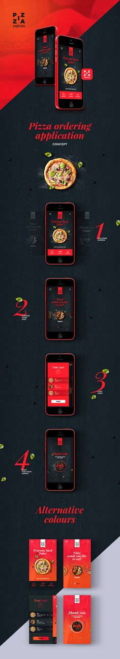 Pizza app on Behance #colors #listview #flatui