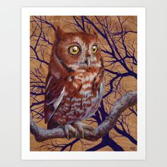 Owl Art Print by Amanda Spaid - $20.00