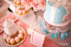 Pretty in Pink w/ Tiffany's Inspiration Bridal Shower :  wedding blue bridal shower cake cake stand elegant glass vase inspiration pink pink flowers polkatot cupcakes pretty in pink silver theme tiffany blue tiffany box vintage white candelabras Dessert Table1
