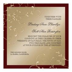 Black Tie Elegance, Champagne Cream Wedding Cards Custom Invitations