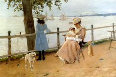 """""""Afternoon by the sea at Gravesend Bay"""" by William Merritt Chase. It's actually Gravesend, the town settled by British Quakers in Southern Brooklyn, as depicted in 1888 by painter American Impressionism, Mary Cassatt, Victorian Art, Museum Of Fine Arts, Edgar Degas, Figure Painting, American Artists, Great Artists, Camille Pissarro"""